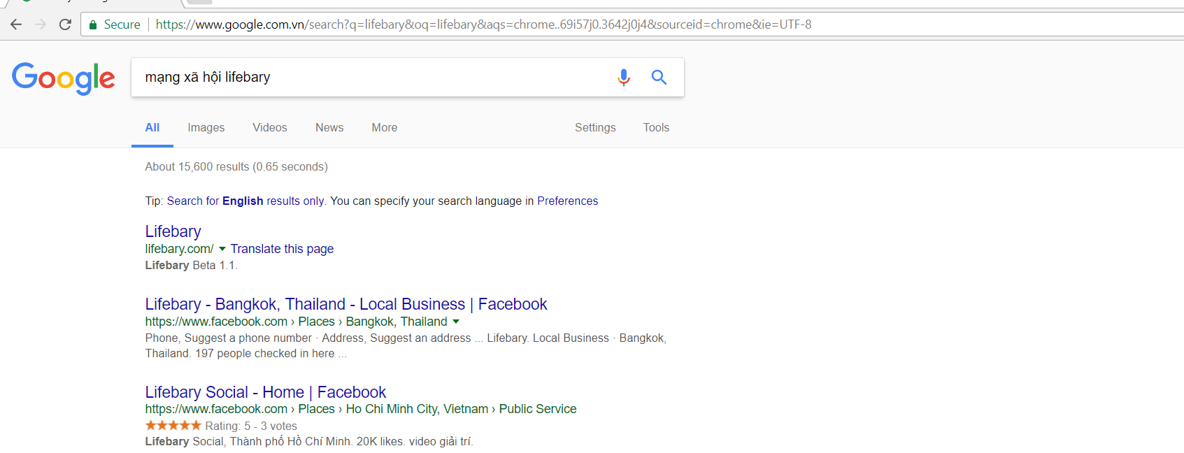 Tìm kiếm mạng xã hội lifebary