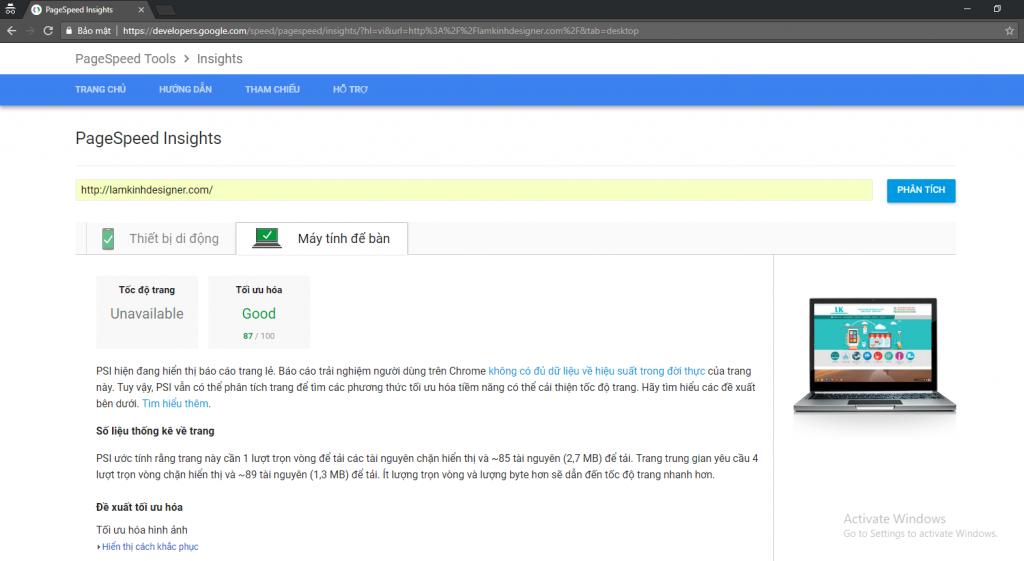 Điểm tối ưu website lamkinhdesigner trên bản máy tính của Pagespeed Insights