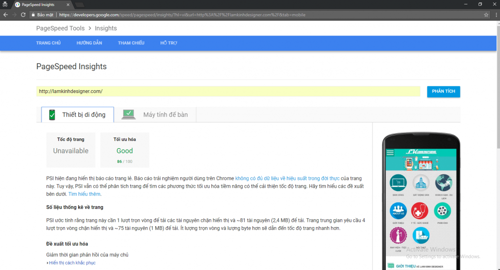 Điểm tối ưu website lamkinhdesigner trên các thiết bị thông minh của Pagespeed Insights