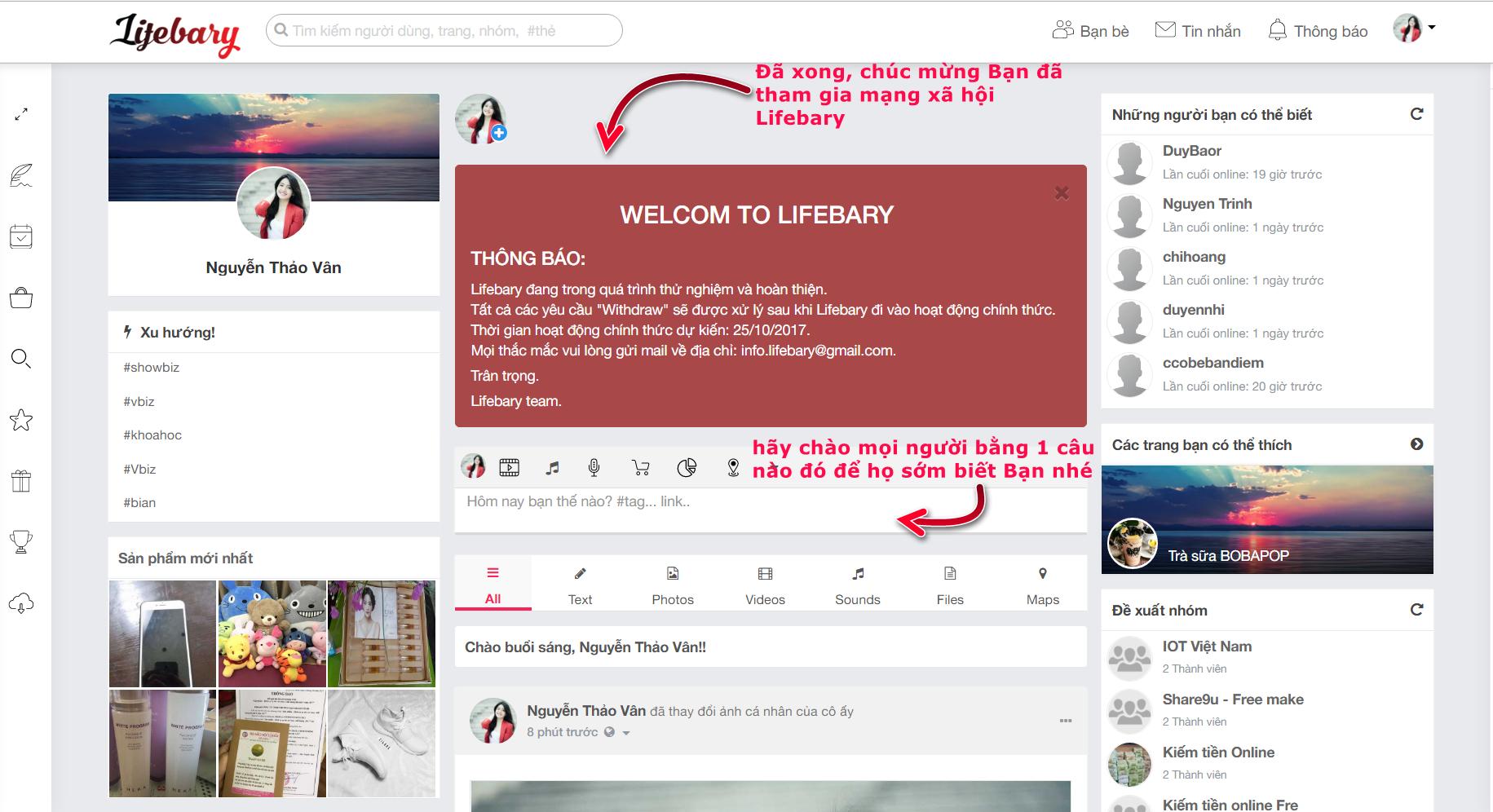 Hoàn thành đăng ký tài khoản trên Lifebary
