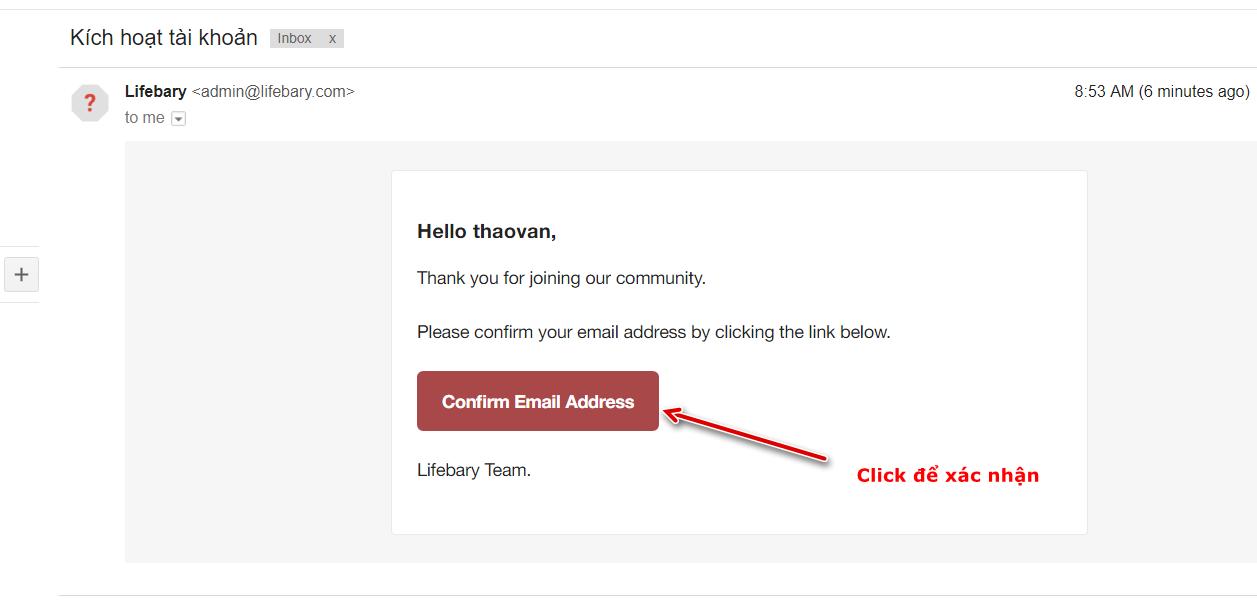 Hoàn thành xác nhận đăng ký Lifebary